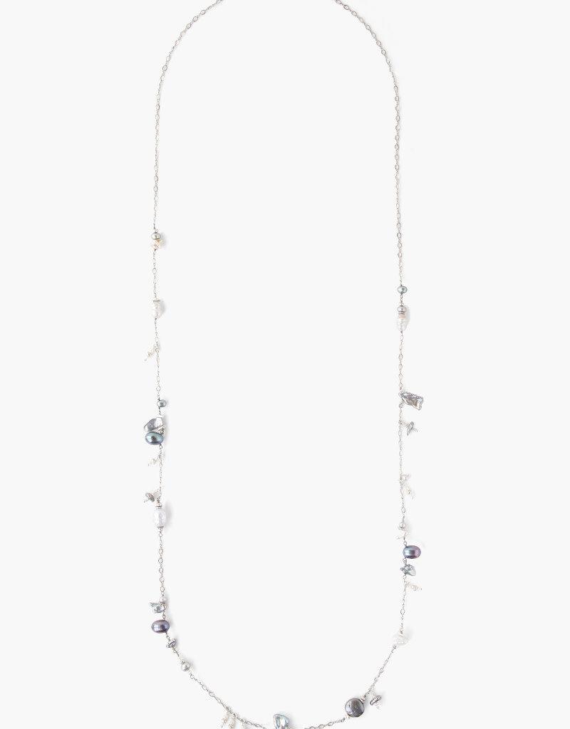 CHAN LUU Grey Pearl Mix Santa Maria Long Necklace