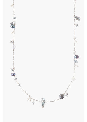 CHAN LUU Grey Pearl Mix Santa Maria Long Necklace