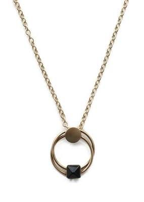 Michelle Starbuck Black Jasper Duality Gold  Necklace