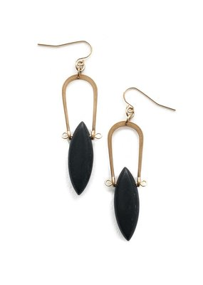 Michelle Starbuck Matte Black Jasper Amulet Earrings