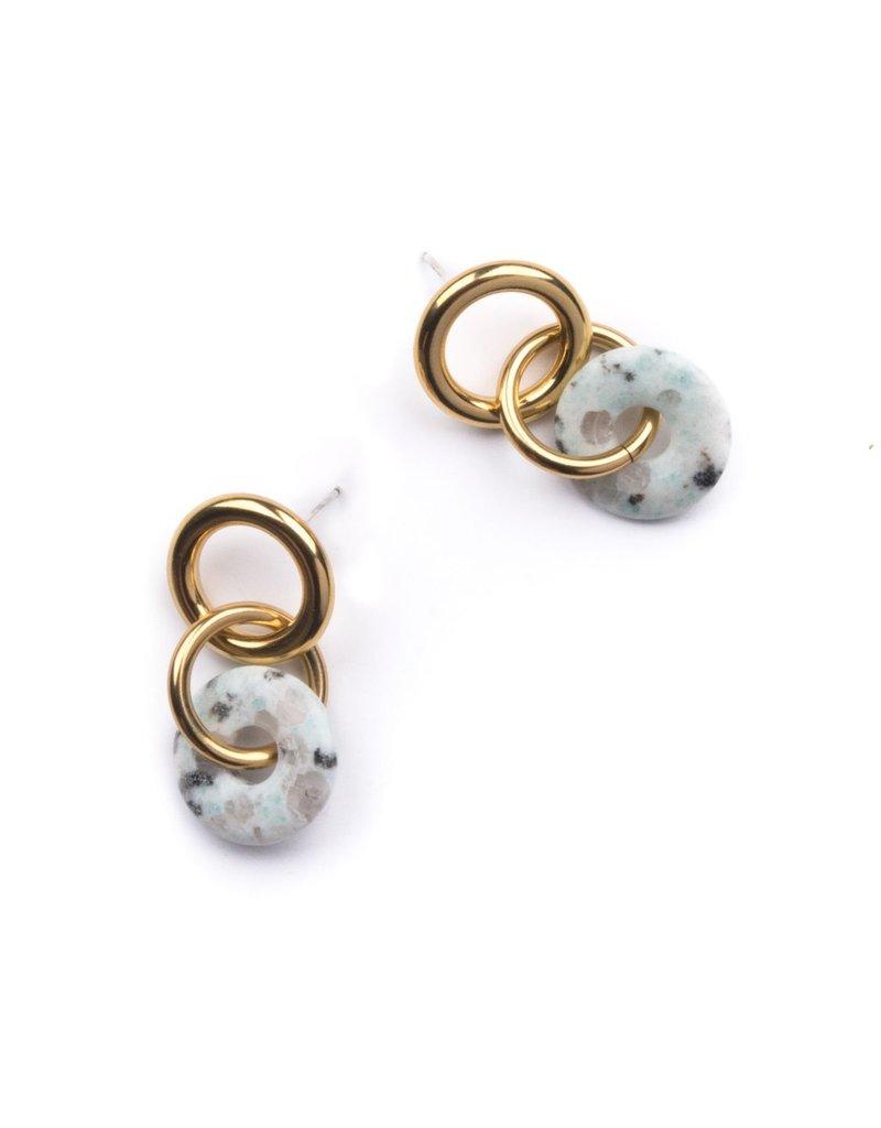Michelle Starbuck Kiwi Jasper Double Linked Loop Earrings