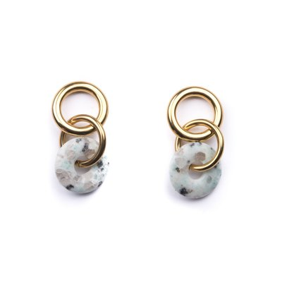 Michelle Starbuck Kiwi Jasper Double Linked Loop Earrings