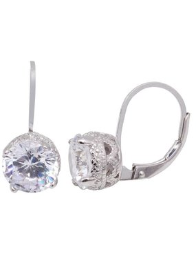 Sterling Silver Laverback Stud Drop CZ Earring