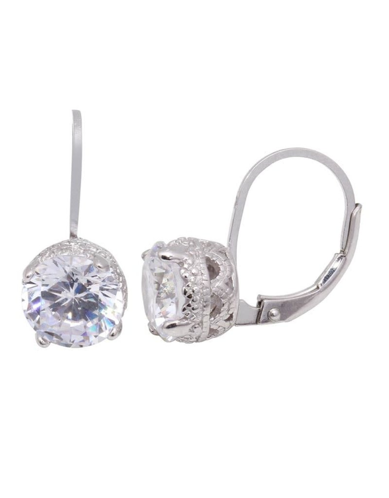 Qualita In Argento Sterling Silver Laverback Stud Drop CZ Earring