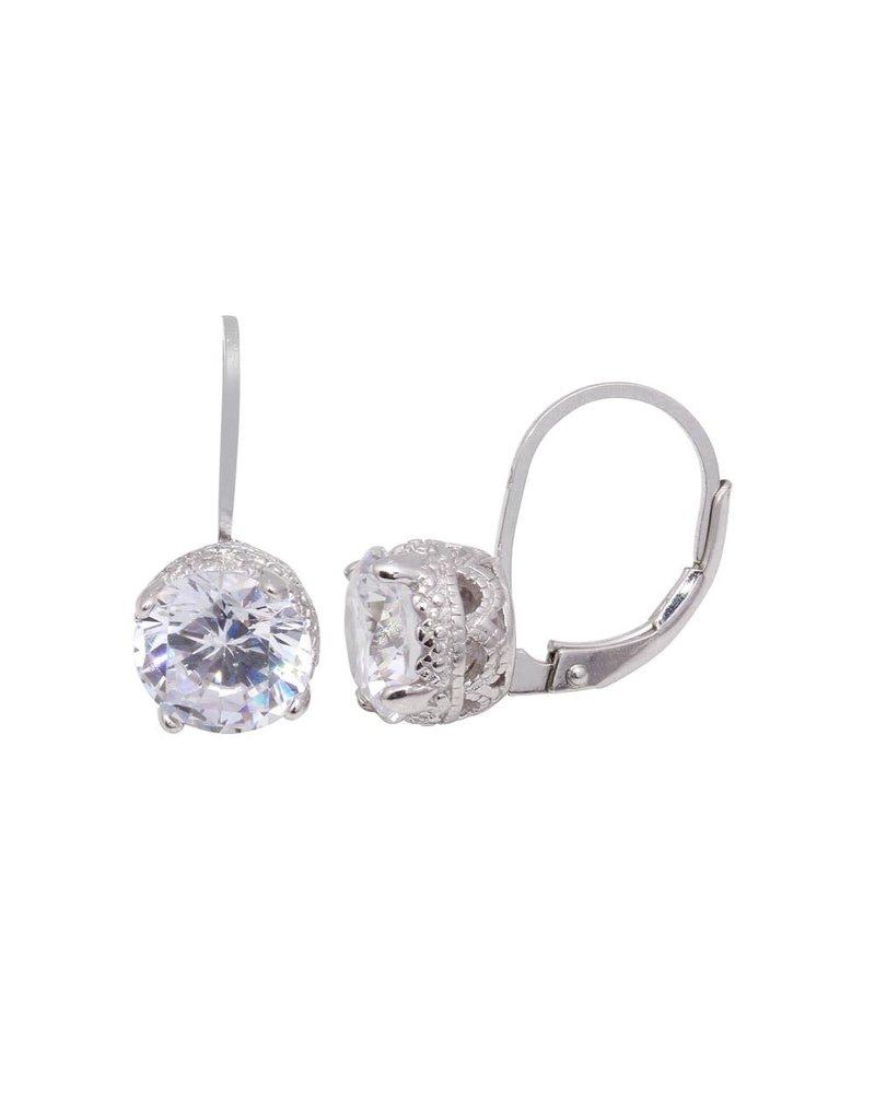 Sterling Silver Laverback Stud Drop CZ Earring