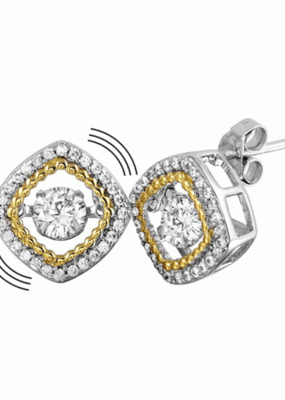 Sterling Silver Rhodium & Gold Plated Dancing Diamond Square Stud Earring