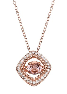 Qualita In Argento Sterling Silver Rose Gold Plated Square CZ Dancing Diamond Necklace