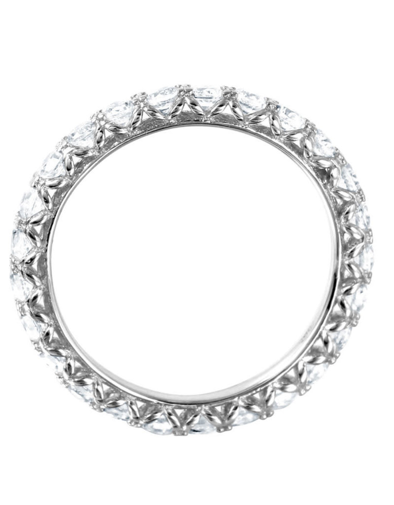 Qualita In Argento Sterling Silver Clear CZ Halo Band