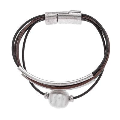 Trades Black & Brown Multistrand Leather w Pearl Bead Bracelet