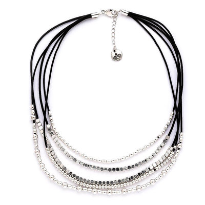 Trades Black Leather Necklace With Silver Beads And Round Dangled Charms