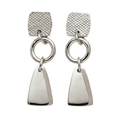 Trades Silver Geometric Drop Earring