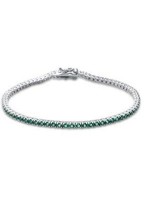 Sterling Silver Round Emerald CZ Tennis Bangle Bracelet
