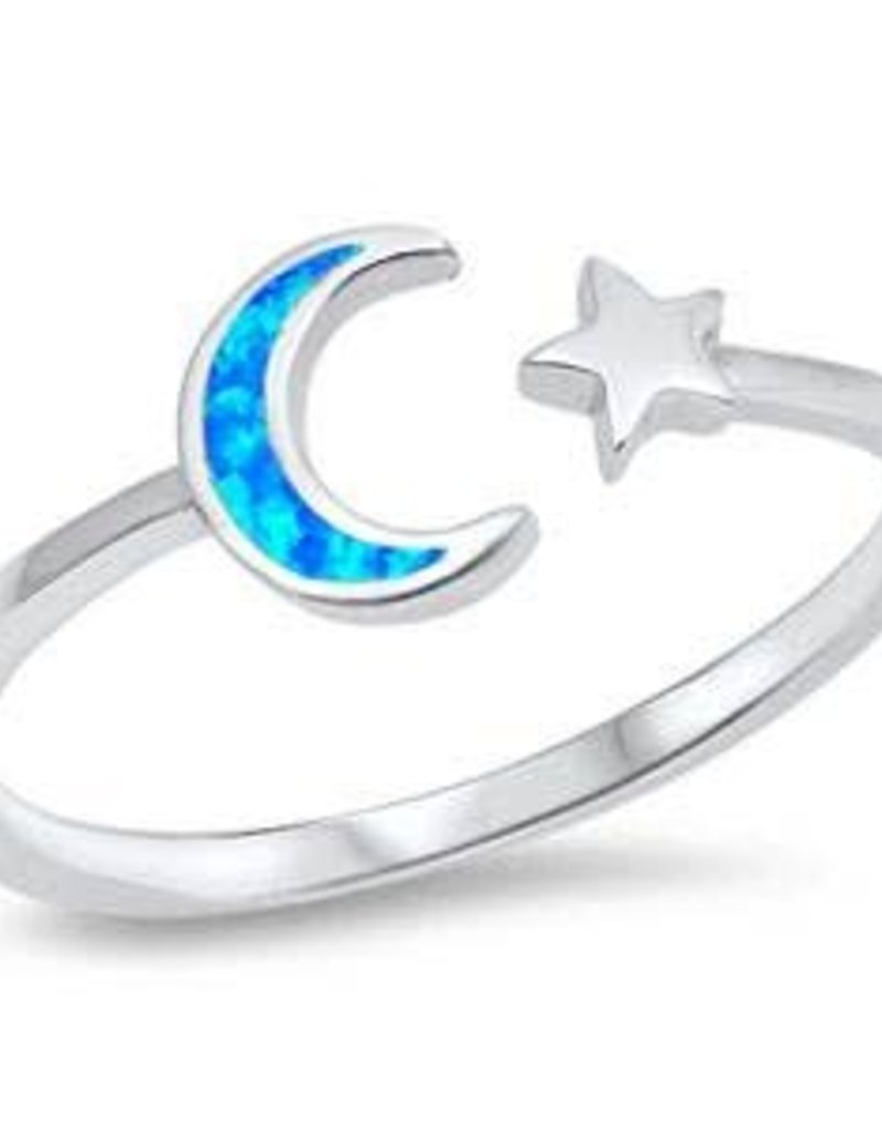Sterling Silver Blue Opal Crescent Moon Ring