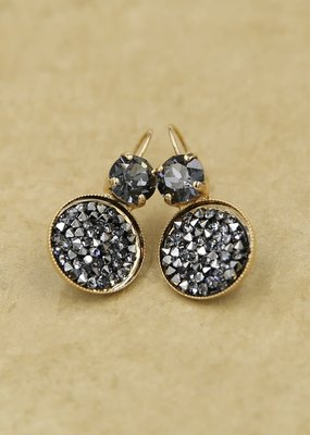 Rachel Marie Misha Calcomet & Crystal Rocks Leverback Gold Earring