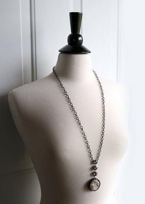 Rachel Marie Jojo Mocha Agate Pendant Long Necklace