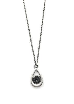Rachel Marie Callie Teardrop Swarovski Necklace Silver Night