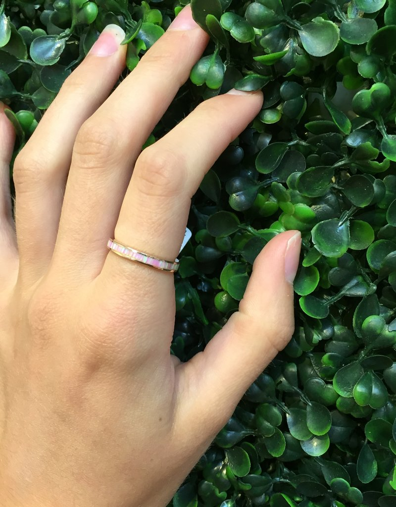 Sterling Silver Rose Gold Plated Pink Opal Ring