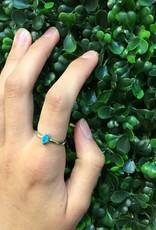 Sterling Silver Blue Opal Rhombus Ring