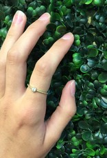 Sterling Silver Gold Plated w CZ Stone Ring