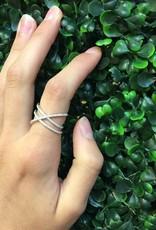 Sterling Silver CZ Criss Cross Design Ring