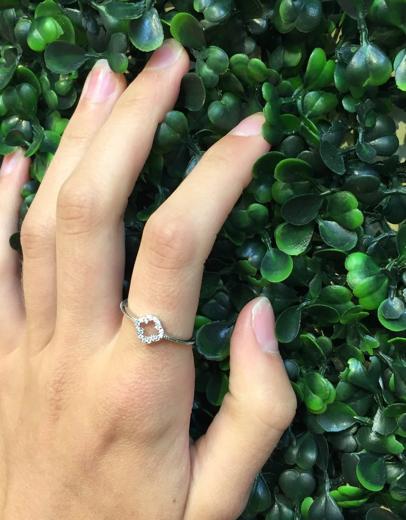 Sterling Silver Open Clover CZ w Inlaid Design Ring