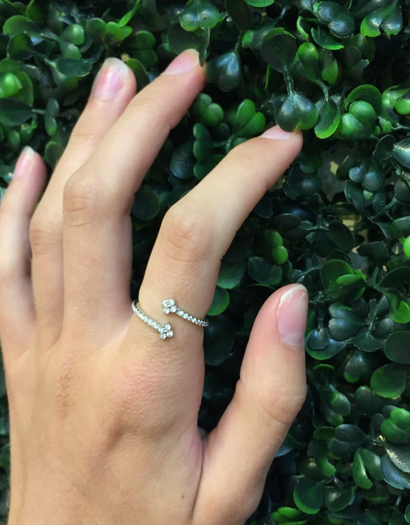 Sterling Silver Double Mini Flower CZ Ring