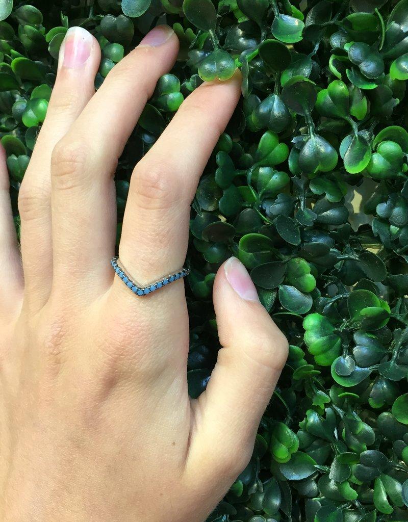 Sterling Silver V Shape Turquoise Ring