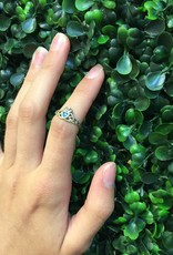 Sterling Silver Blue Topaz Claddagh Shaped CZ Ring