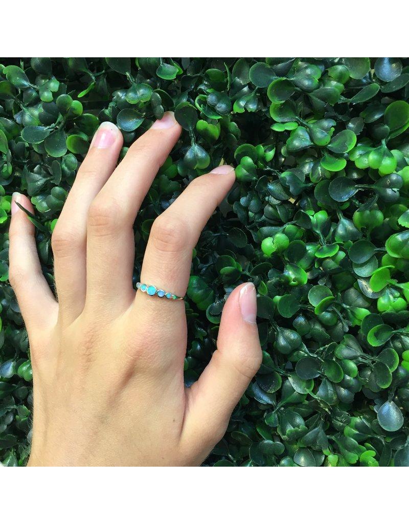 Sterling Silver Light Blue Opal Circles Ring