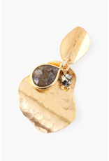 CHAN LUU Gold Hammered Shell w Labradorite Earrings