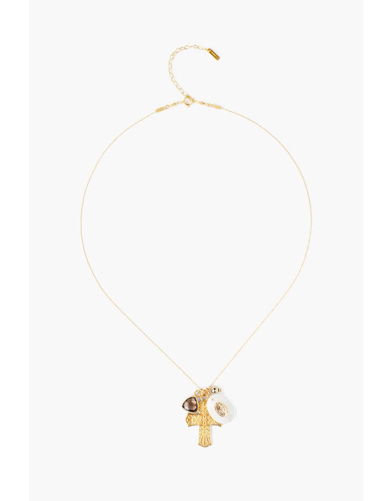 CHAN LUU Gold Cross w Shell Virgin Mary Necklace