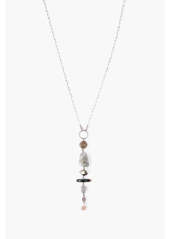 CHAN LUU Silver Abalone Graduated Semi-Precious Stone Necklace