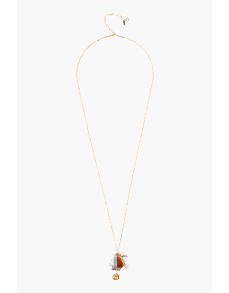 CHAN LUU Gold Pink Pearl Mix Long Necklace