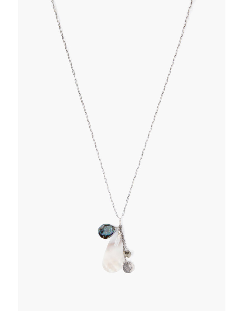 CHAN LUU Silver White Pearl Mix Long Necklace