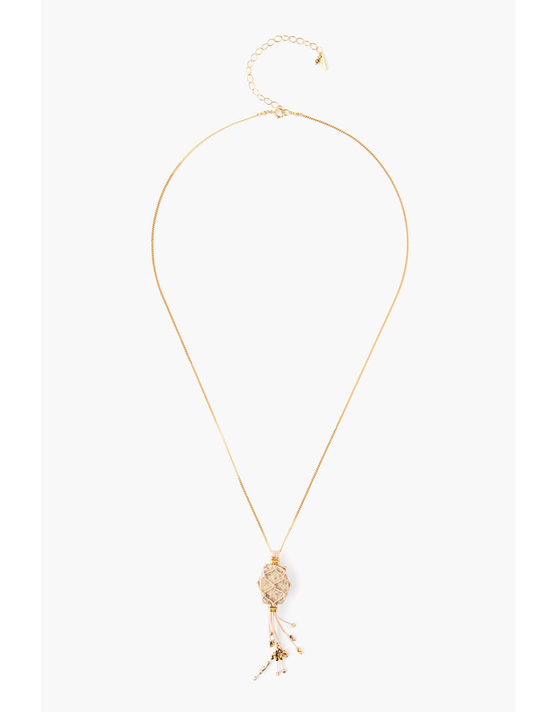 CHAN LUU Gold Feldspar Netted Tassel Necklace