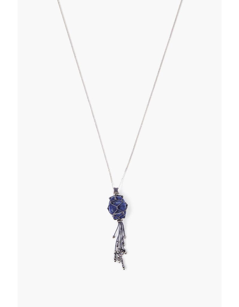 CHAN LUU Silver  Dumortierite Netted Tassel Necklace