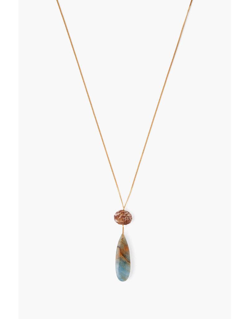 CHAN LUU Gold Red Jasper Long Pendant Necklace