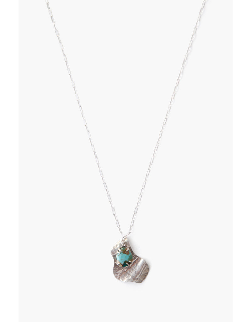 CHAN LUU Silver Hammered Pendant w Green Turquoise Necklace