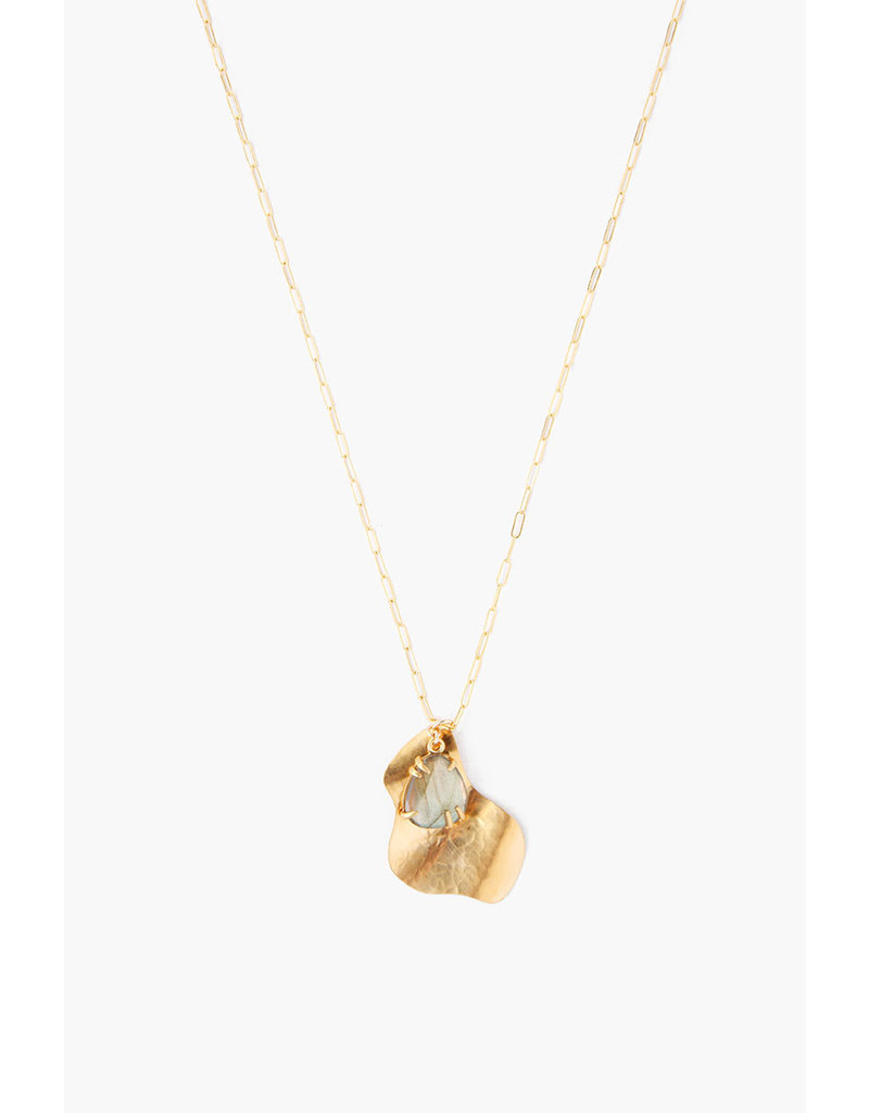 CHAN LUU Gold Hammered Pendant w Labradorite Necklace
