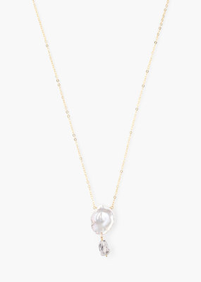 CHAN LUU Gold  Freshwater Pearl Medallion Necklace