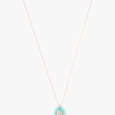 CHAN LUU Gold Amazonite Virgin Mary Pendant