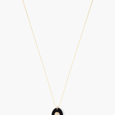 CHAN LUU Gold Onyx Virgin Mary Pendant