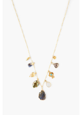 CHAN LUU Gold Labradorite Mix Charm Choker