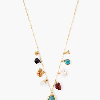 CHAN LUU Gold Multi-Color Mix Charm Choker
