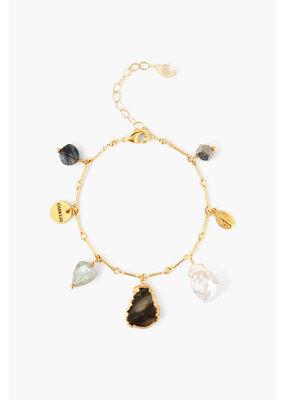 CHAN LUU Gold Labradorite Mix Charm Bracelet