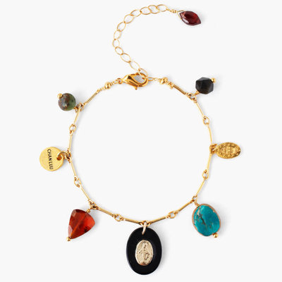 CHAN LUU Gold Multi-Color Mix Charm Bracelet