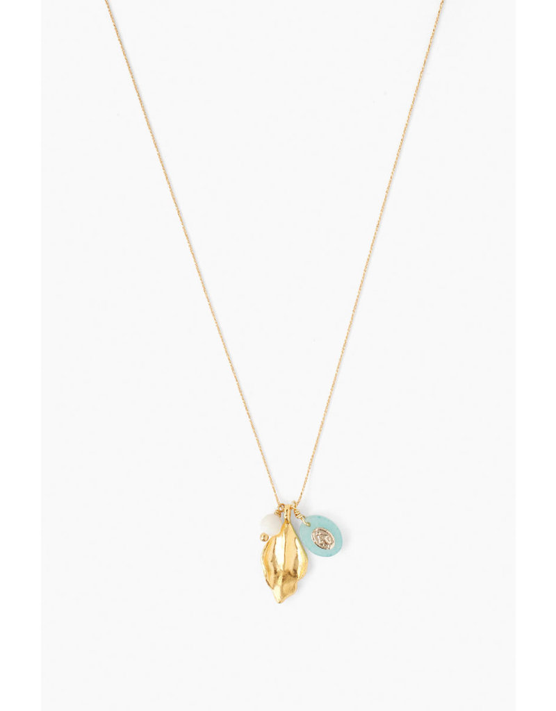 CHAN LUU Gold Amazonite Virgin Mary Charm Necklace
