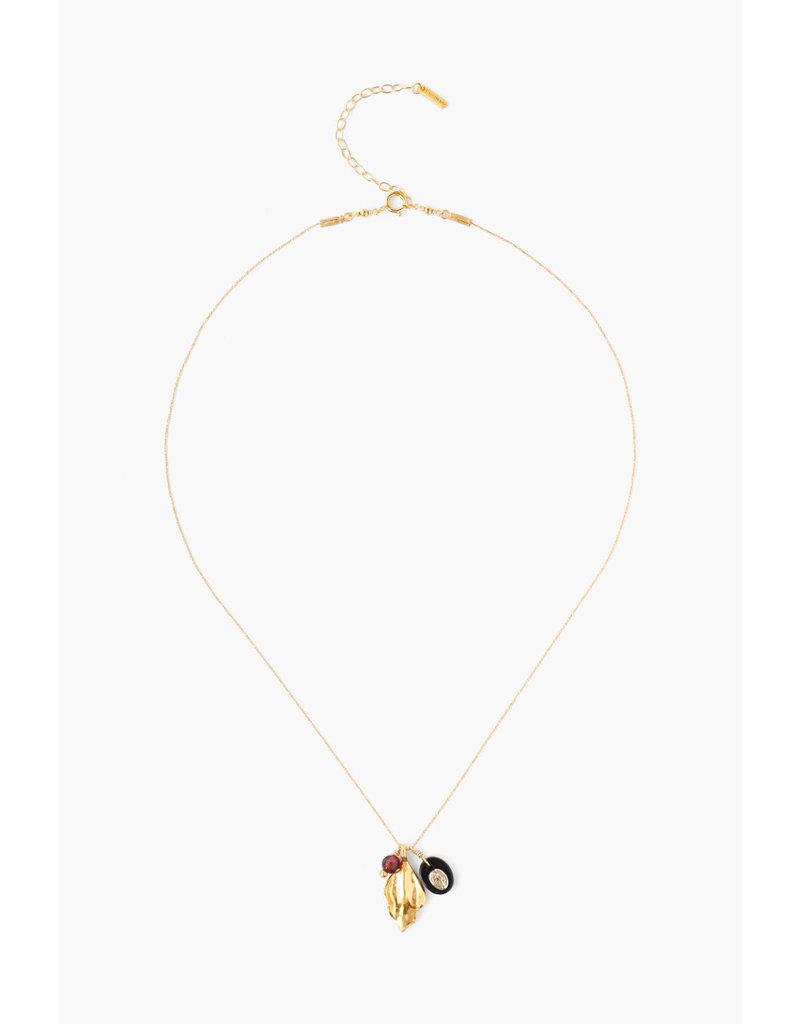 CHAN LUU 18K Gold Plated Onyx Virgin Mary & Shell Charm Pendant