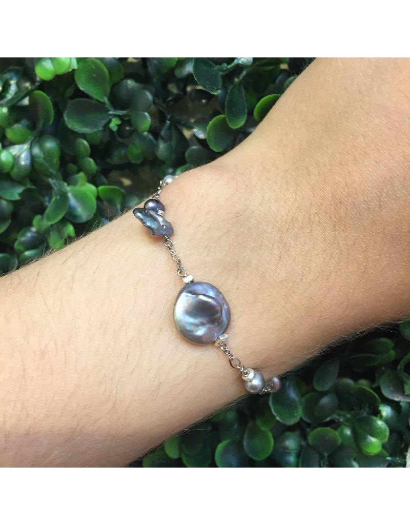 CHAN LUU Grey Keshi Pearl Mix Bracelet