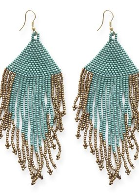 Ink + Alloy Teal and Gold Fringe Earrings with Drop